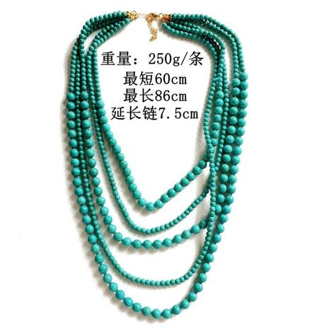 Natural Stone Necklace Multi-Level Turquoise Bead Necklace Summer Cool Stone Bead Necklace NHOM179812's discount tags