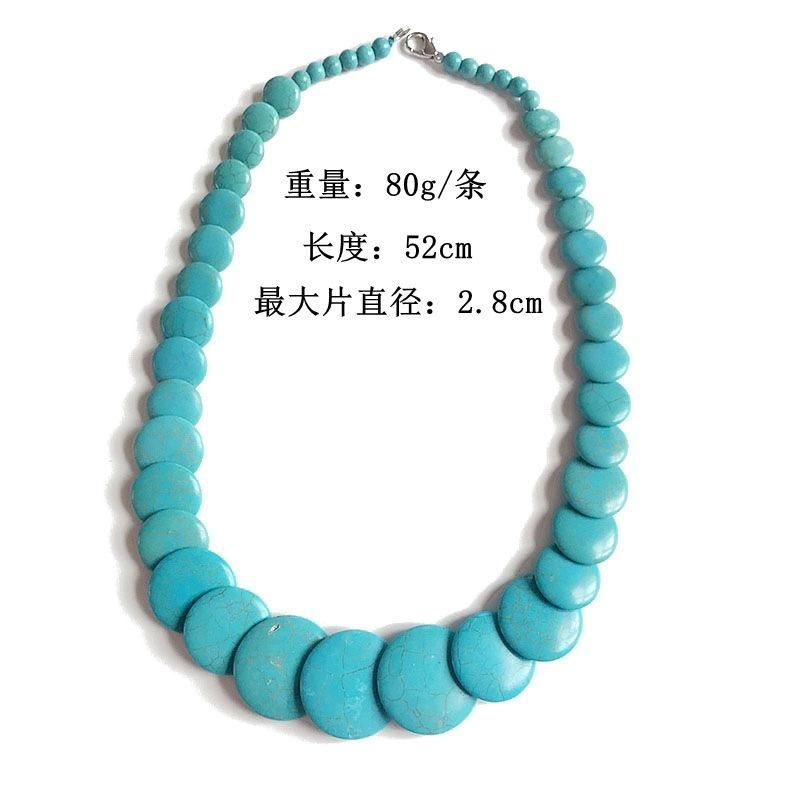 Turquoise Stone Necklace Oval Stone Necklace Short Necklace Cool Necklace NHOM179813