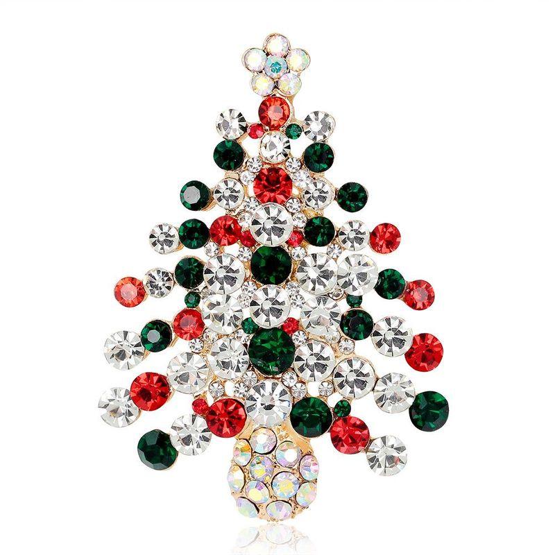 Christmas series jewelry KC gold full diamond Christmas tree wholesale NHDR179482