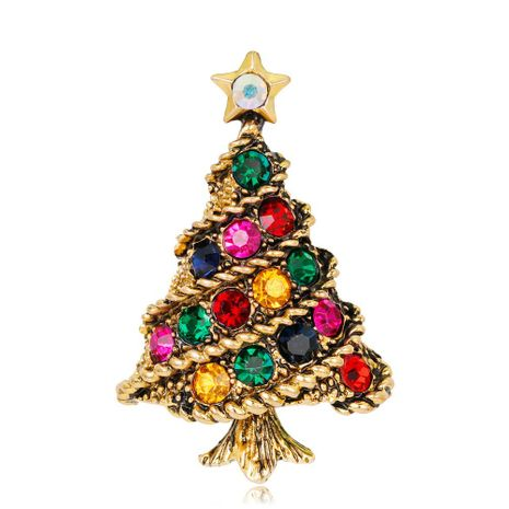 Fashion lady Christmas tree brooch alloy diamond rhinestone brooch accessories Christmas brooch NHDR179484's discount tags