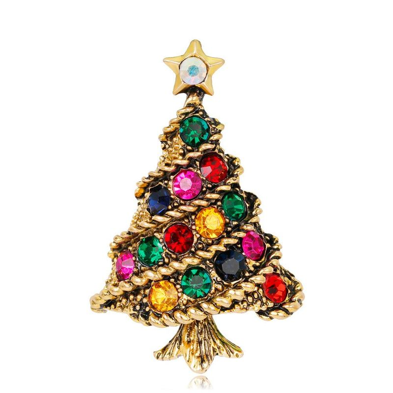 Fashion lady Christmas tree brooch alloy diamond rhinestone brooch accessories Christmas brooch NHDR179484