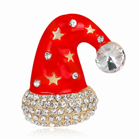 Christmas Necklace Jewelry Fashion Cartoon Cute Christmas Hat Brooch Alloy Drop Oil Corsage NHDR179486's discount tags
