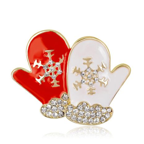 Christmas series Korean fashion brooch personality creative diamond snow red and white couple gloves female brooch NHDR179489's discount tags