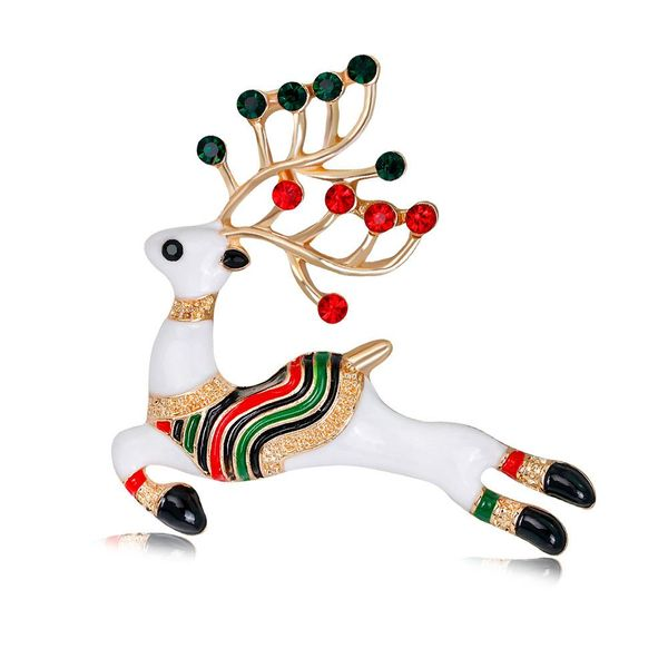 Animal jewelry wholesale fashion cartoon cute Christmas deer brooch alloy drop oil brooch women wholesale NHDR179491