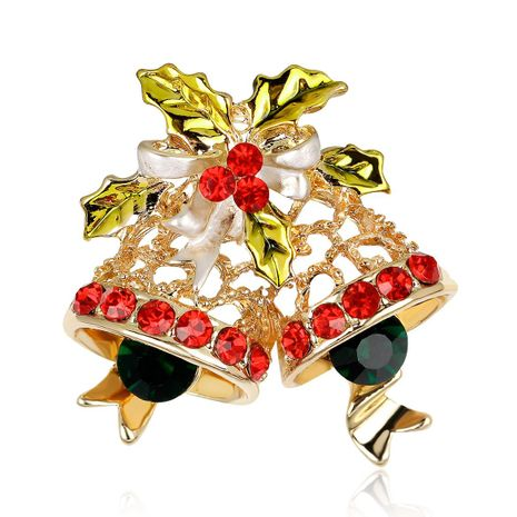Christmas series jewelry KC gold full diamond Christmas bell brooch wholesale NHDR179492's discount tags
