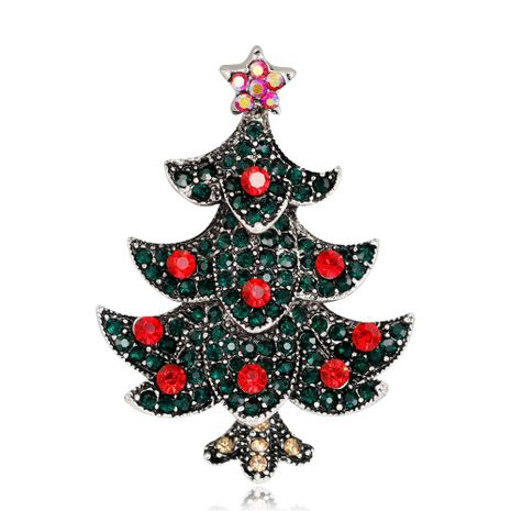 Fashion Christmas Tree Brooch Women's Exquisite Alloy Diamond Plating Ancient Gold Silver Corsage Wholesale NHDR179493's discount tags
