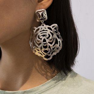 Jewelry creative design earrings tiger hollow geometric earrings NHXR179659's discount tags