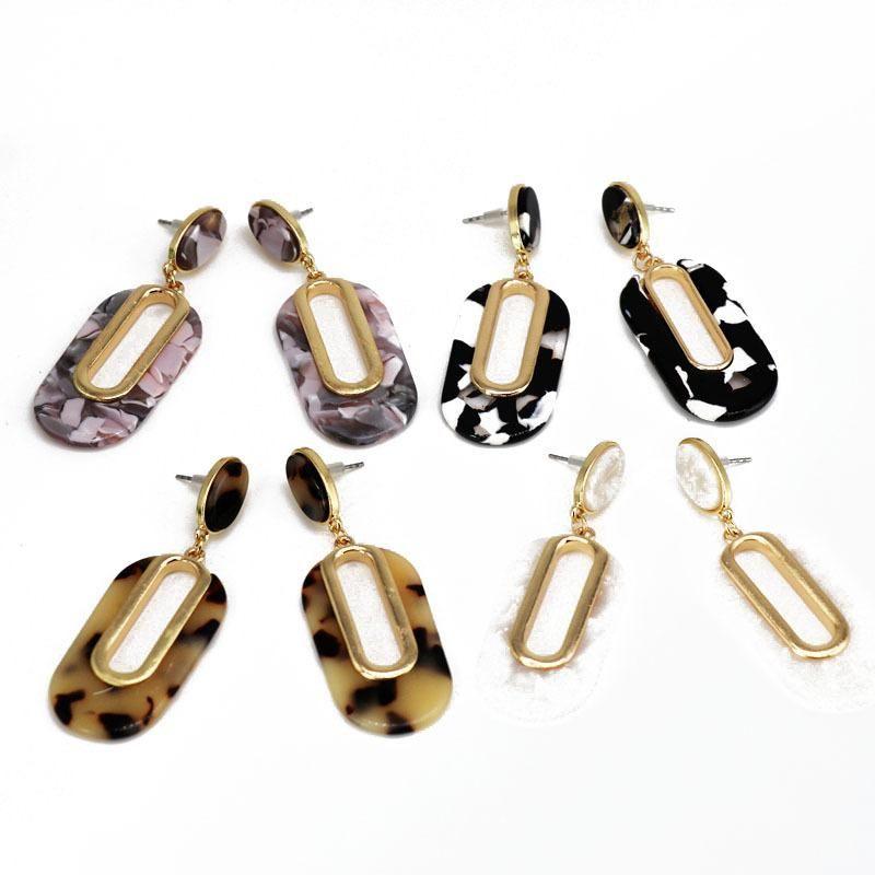 Elliptical hollow resin stud earrings hit color small pattern resin earrings exquisite temperament earrings NHOM179810