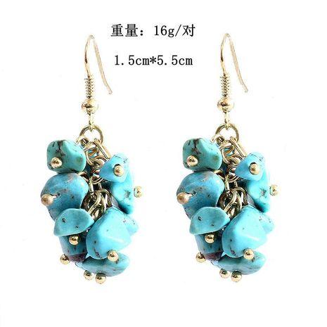 Natural Turquoise Gravel Earrings Handmade Grape Crush Earrings Stone Earrings Wholesale NHOM179819's discount tags