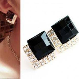Europe and America exaggerated large gemstone stud earrings crystal earrings NHCU179732's discount tags