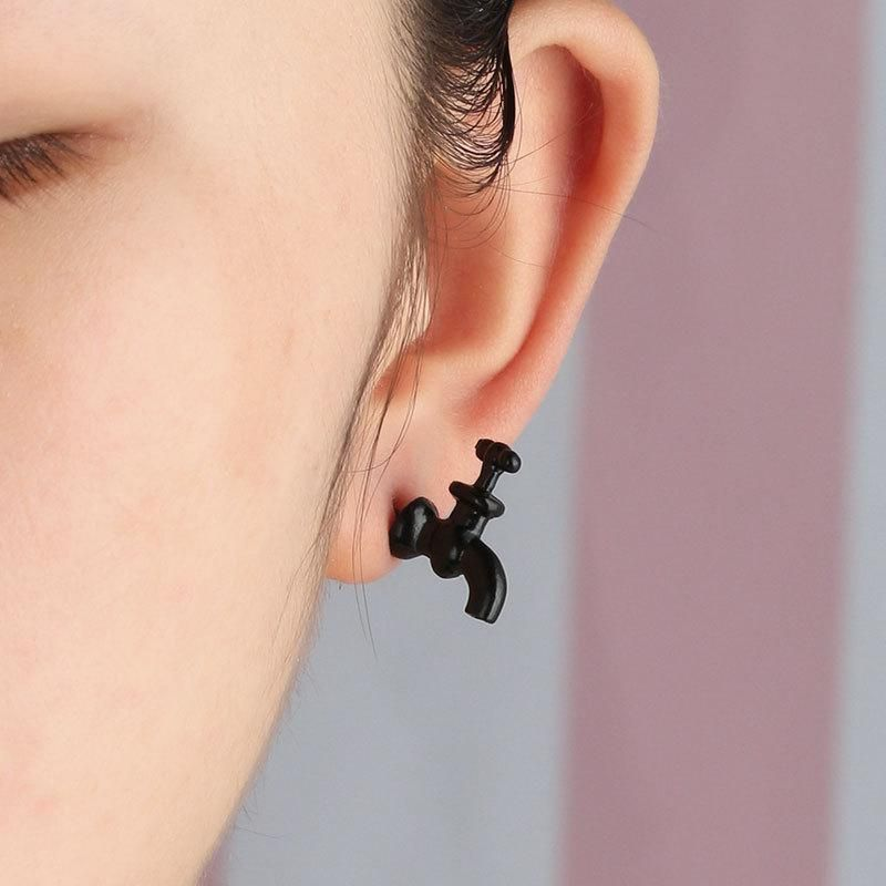 Plating three-color personality faucet earrings cartoon faucet gadget earrings NHCU179743