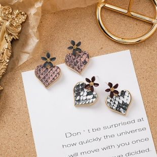 925 silver color flower leather texture love earrings girl sweet wild earrings NHMS179802's discount tags