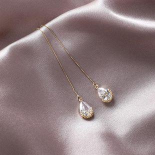 925 silver vintage pattern crystal drop ear line long paragraph popular temperament earrings female NHMS179552's discount tags