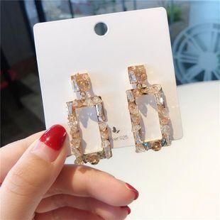 925 silver needle personality retro geometric crystal rectangular earrings earrings female NHMS179671's discount tags