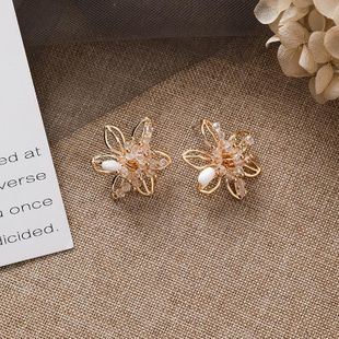925 silver needle crystal hollow three-dimensional flower earrings fashion handmade jewelry NHMS179675's discount tags
