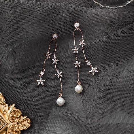 925 Silver Sweet Pearl Zircon Flower Tassel Earrings Long Elegant Flower Earrings NHMS179679's discount tags