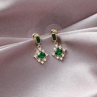 925 Silver Vintage Emerald Diamond Earrings with Zircon Short Earrings NHMS179681's discount tags
