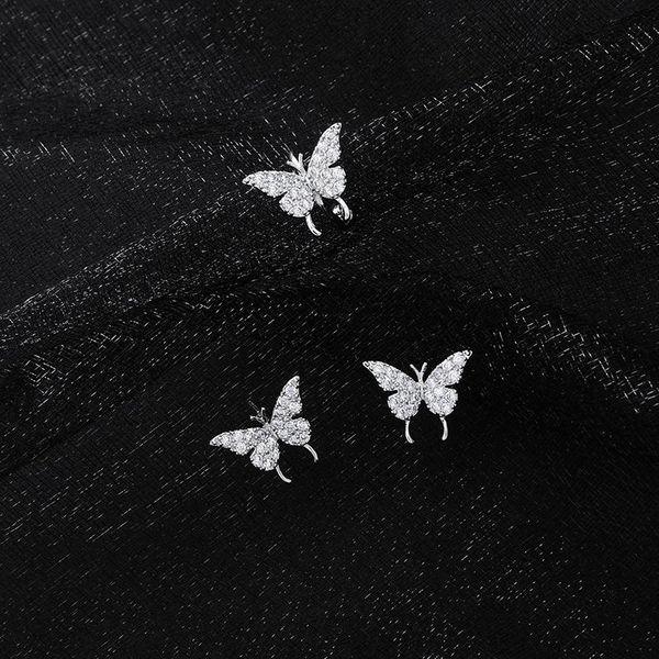 Mini micro inlaid zircon butterfly stud earrings simple pop ear clip NHMS179684