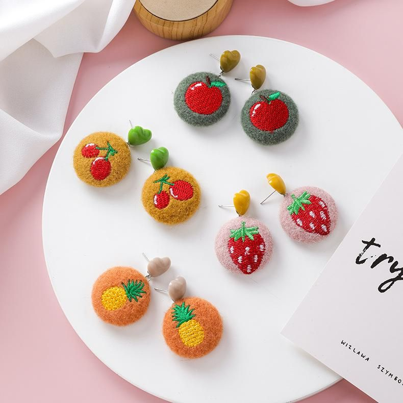 Vintage Embroidered Plush Earrings Long Love Heart Round Fabric Hair Ball Cute Fruit Earrings NHMS179749