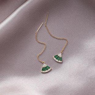 925 silver needle simple micro-inlaid zircon crystal fan-shaped ear wire flash diamond emerald earrings female NHMS179514's discount tags