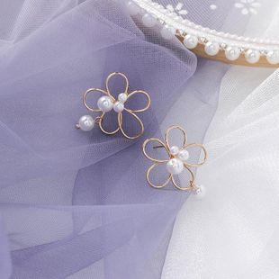 925 silver needle pearl hollow flower earrings handmade line flower earrings female NHMS179516's discount tags
