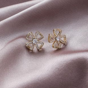 925 silver needle micro-inlaid zircon hollow geometric design simple flower earrings NHMS179525's discount tags