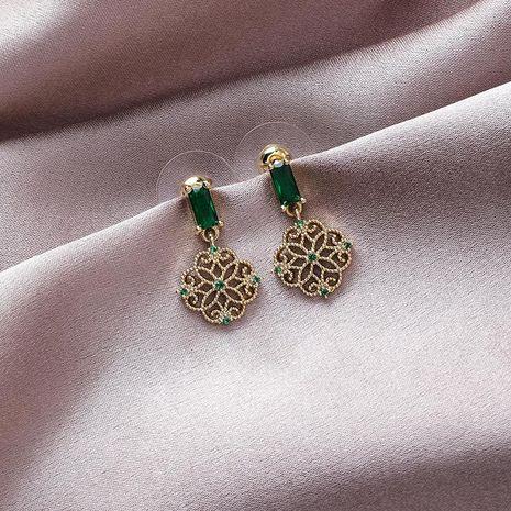 925 silver pin retro pattern earrings short emerald earrings NHMS179541's discount tags