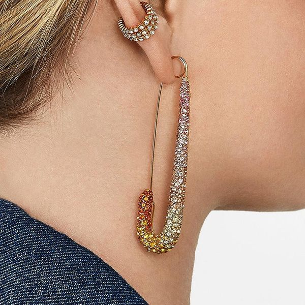 Earrings female exaggerated alloy personality fashion color safety pin earrings female NHLN179629