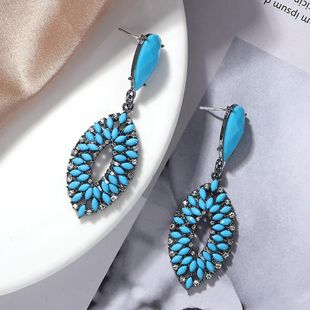Bohemian fashion alloy diamond resin earrings wholesale NHJQ179587's discount tags