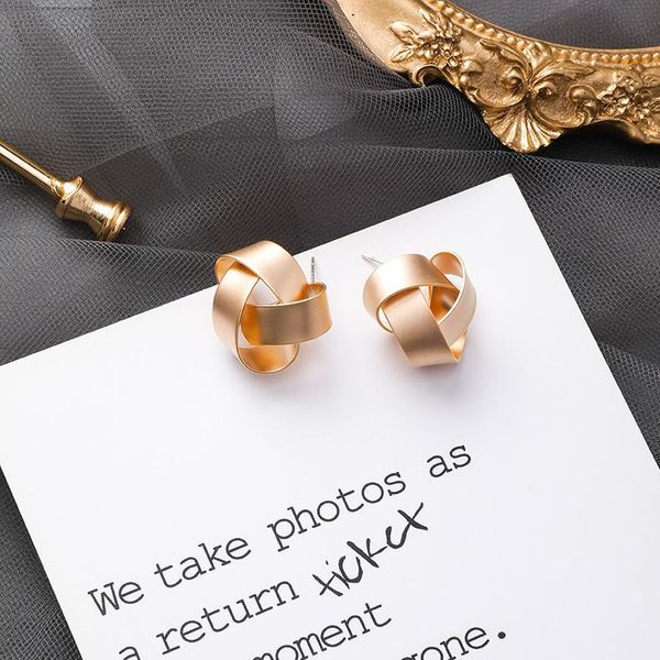 925 Silver Needle Irregular Geometric Metal Wrapping Stud Earrings Matte Simple Earrings NHMS179496