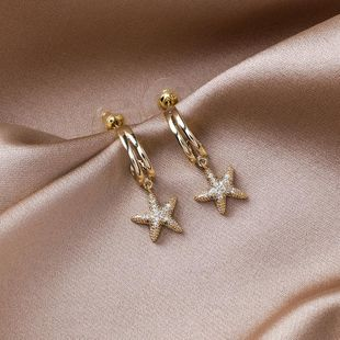 925 silver needle French retro micro-set small starfish earrings flash drill short simple earrings female NHMS179497's discount tags