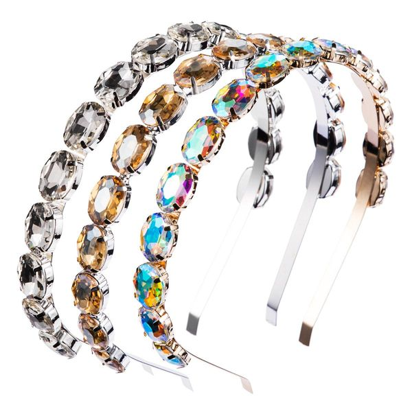 Alloy Diamond Single Row Oval Glass Drill Headband Super Flash Ball Headband NHJE179594