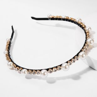 Alloy diamond glass drill pearl headband high-end headband NHJE179615's discount tags