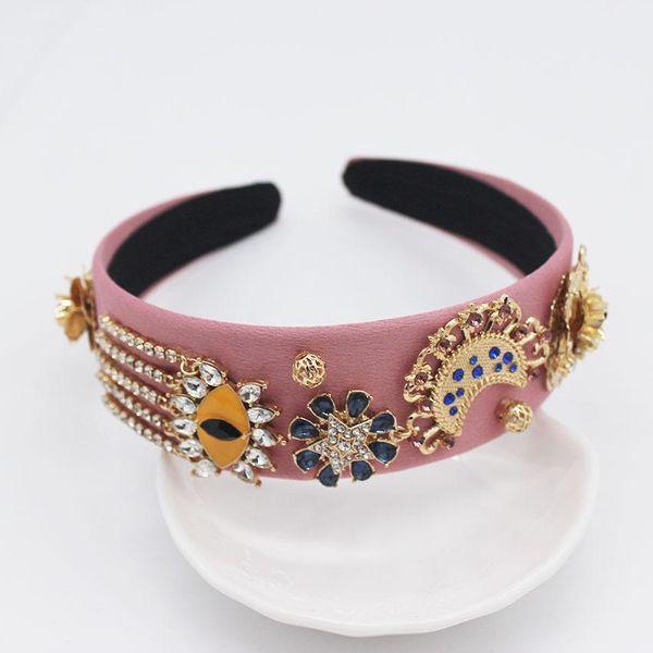 New Baroque fashion headband pink eyes tassels flower show headband NHWJ179686