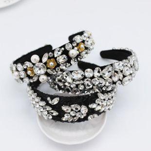 Diadema barroca Diamante completo Perla Flor del sol Diamante blanco Geométrico Bola de lujo Diadema Pasarela NHWJ179688's discount tags
