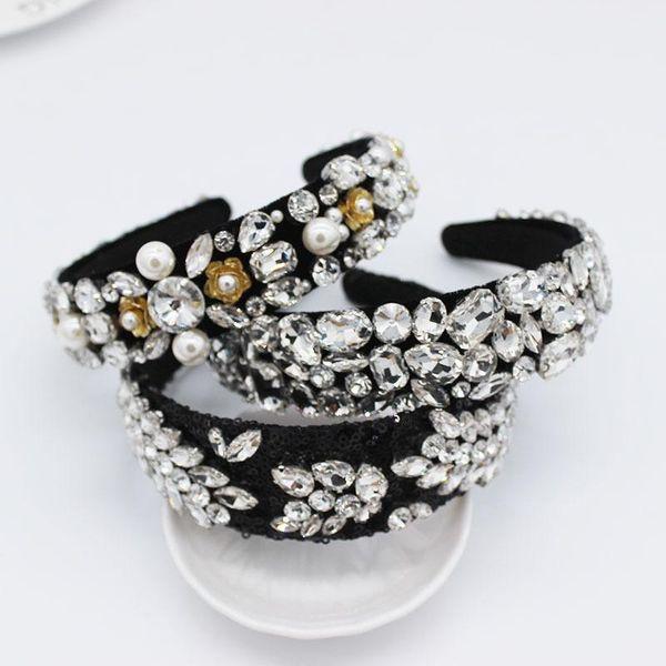 Baroque headband full diamond pearl sun flower white diamond geometric luxury ball catwalk headband NHWJ179688