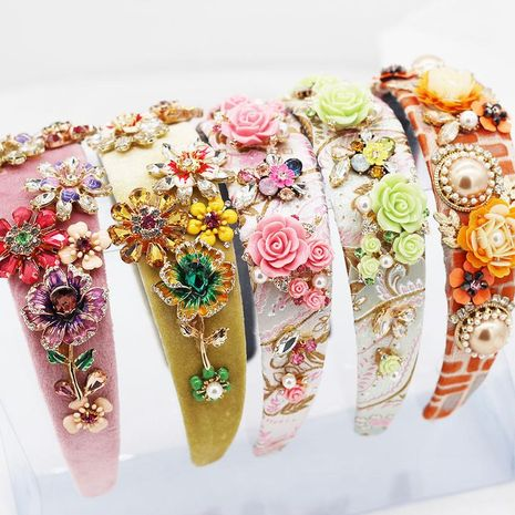 New Baroque fashion rhinestone flower geometric headband dance show catwalk headband NHWJ179698's discount tags