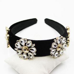 Sencillo paseo mostrar lado negro diamante joya flor diadema flor accesorios para el cabello NHWJ179768's discount tags