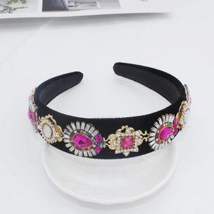 Diadema barroca desfile de moda de diamantes de color completo de piedras preciosas geometría flor accesorios femeninos banda para el cabello diadema NHWJ179771's discount tags