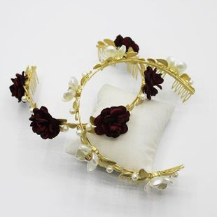 New Golden Leaf Showway Roses and Pearls Headband Hair Accessories NHWJ179773's discount tags