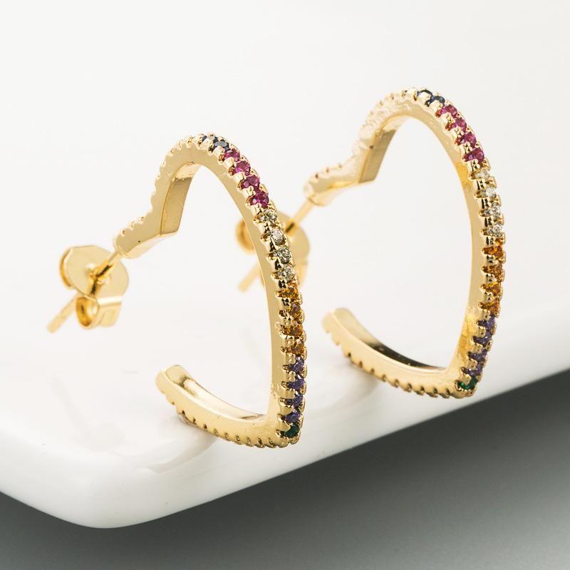 Earrings women's copper micro-inlaid zircon heart-shaped earrings fashion earrings NHLN179624