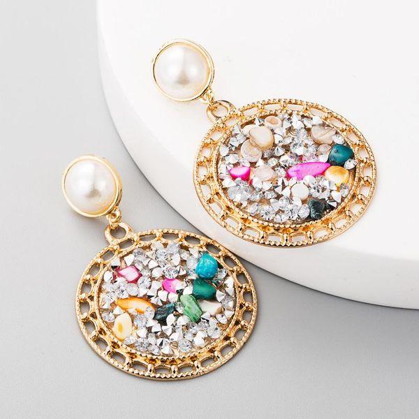 Earrings, women's alloy, pearls, colored stones, earrings NHLN179625