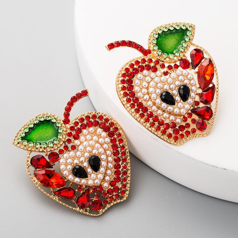 Colorful diamond apple earrings personality creative pearl earrings women wholesales fashion NHLN179626