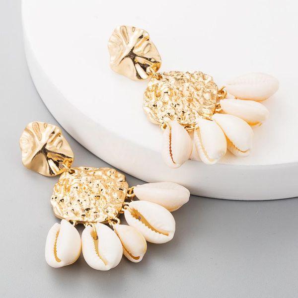 Shell earrings irregular geometric alloy glossy earrings earrings NHLN179627