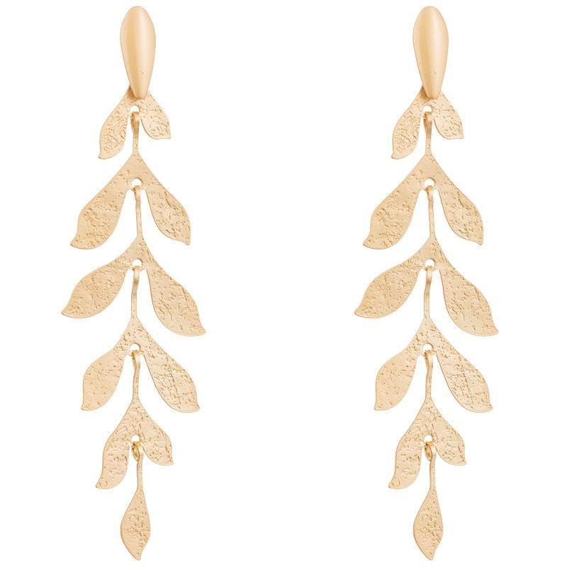 Aretse para mujer bohemios para mujer hojas doradas multicapa hojas pendientes largos borla pendientes NHLN179637
