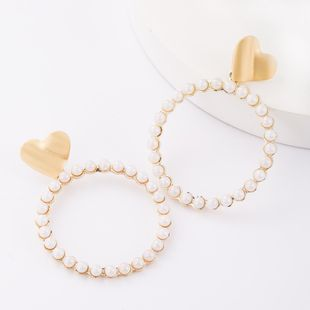 Fashion minimalist love heart-shaped alloy with pearl ring stud earrings NHJE179601's discount tags
