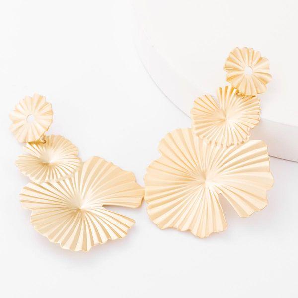 Aretes para mujer de aleación de hoja de loto con muesca pendientes geométricos femeninos de otoño e invierno NHJE179606