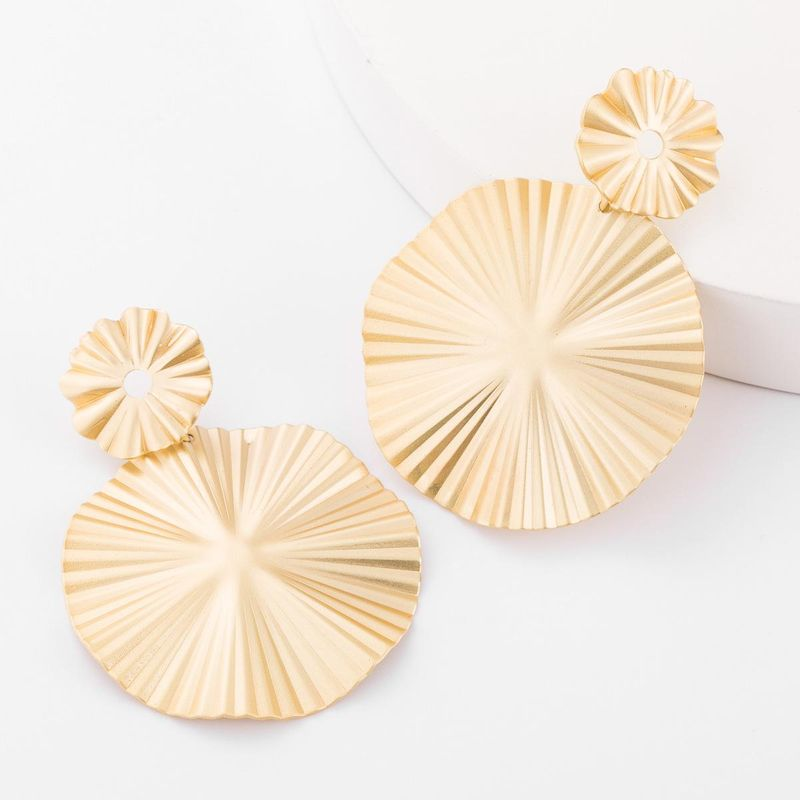 Multi-layer size lotus-shaped alloy earrings women's fashion simple earrings autumn and winter new NHJE179607