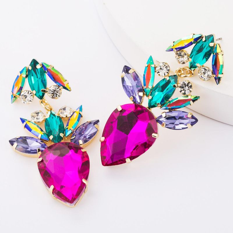Drop-shaped multi-layer alloy diamond rhinestone glass drill full diamond earrings women NHJE179618