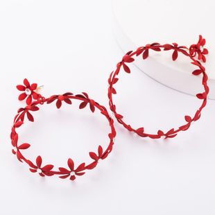 New alloy spray paint round multi-layer flower wreath earrings women NHJE179620's discount tags